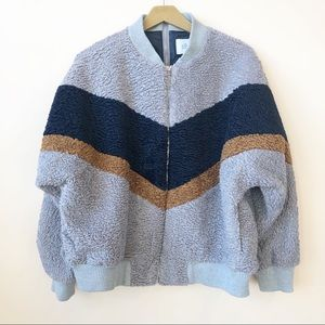 NWOT J.O.A.Chevron Blue Sherpa Jacket  Size Medium
